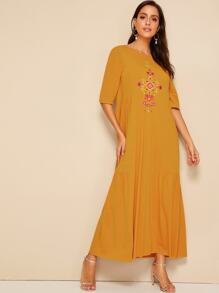 Embroidered Detail Flounce Hem Hijab Dress