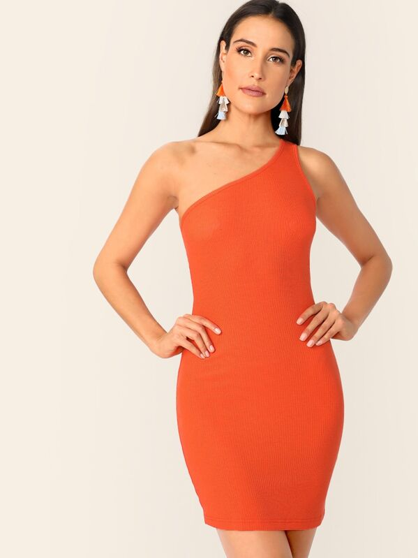 6f50e0cae5f2 Neon Orange One Shoulder Rib-knit Bodycon Dress