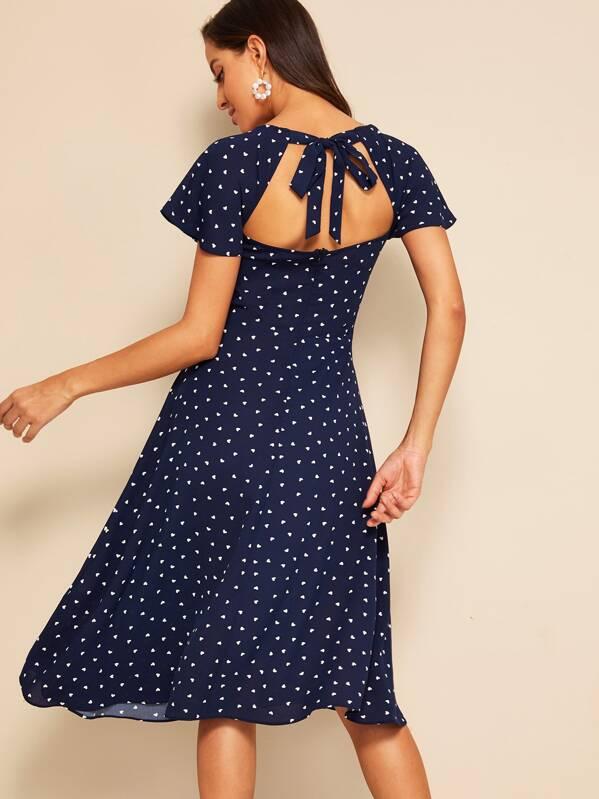 b5b97ae373 Heart Print Flutter Sleeve Tie Back Dress | SHEIN