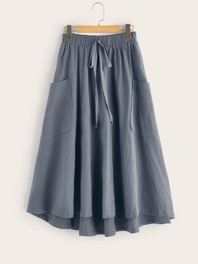 c2254acb3f Knot Waist Patch Pocket Flared Asymmetrical Hem Skirt