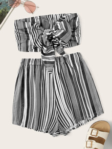 Striped Knot Detail Bandeau Top With Shorts