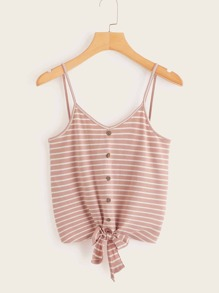 Buttoned Knot Hem Striped Cami Top