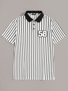 Men Fleece Patch Detail Striped Polo Shirt