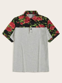 Men Rolled Cuff Colorblock Floral Polo Shirt