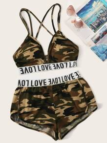 Letter Tape Criss-cross Camo Bra & Dolphin Shorts Set