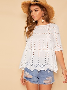 Cut Out Scallop Hem Blouse