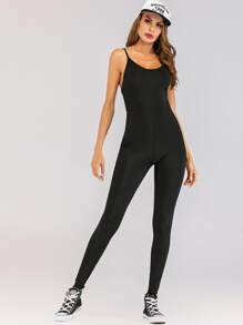 Solid Open Back Skinny Cami Jumpsuit