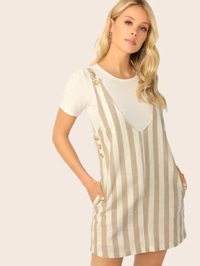 Pocket Side Pinafore Dress With Adjustable Strap
