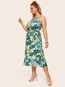 Plus Tropical Print Cami Dress