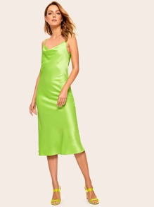 Neon Lime Cowl Neck Slip Dress