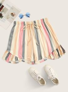 Plus Ruffle Hem Colourful Stripe Shorts