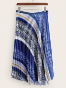 Stripe Pleated Skirt
