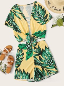 Plus Tie Front Tropical Print Top & Shorts