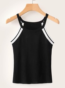 Contrast Trim Halter Top