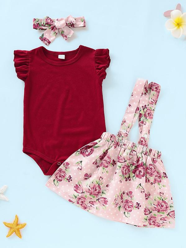 d75c96f569901 Baby Ruffle Romper & Floral Print Straps Skirt & Headband   SHEIN