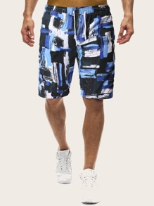 Men Brush Print Drawstring Bermuda Shorts