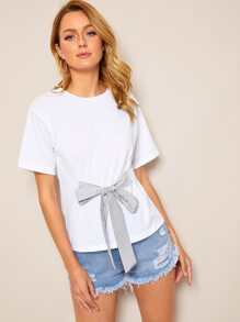Contrast Striped Tie Front Tee