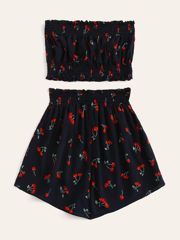 c81d2050a53 Cherry Print Shirred Tube Top With Shorts