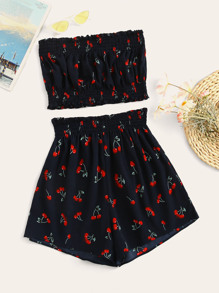 Cherry Print Shirred Tube Top With Shorts