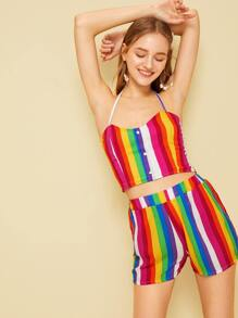 Colorful Striped Halter Top With Shorts