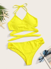 Wrap Halter Top With Cut-out Bikini Set