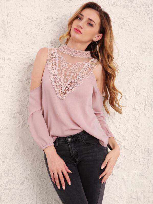 shopping new design buying cheap Contrast Lace Cold Shoulder Blouse