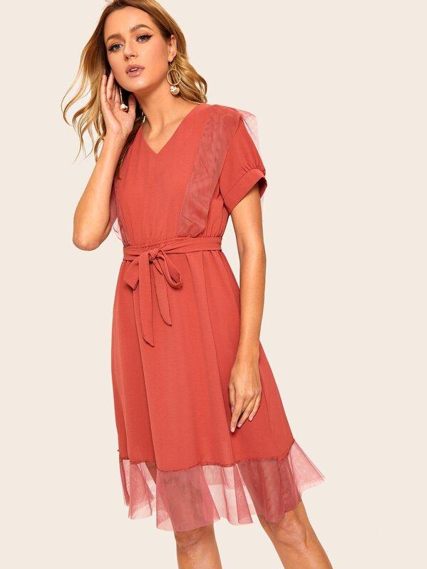 301762abc1 Contrast Mesh V-neck Belted Dress