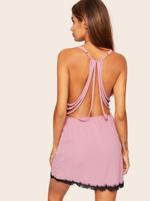 Strappy Back Contrast Lace Cami Dress