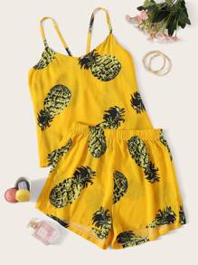 Pineapple Print Cami Pajama Set