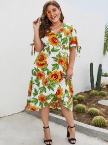 Plus Sunflower Print Wrap Tie Side Dress