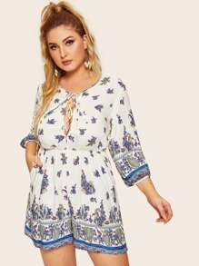 Plus Tribal Print Lace-up Romper