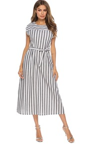 Striped Cap Sleeve Pocket Detail Belted Dress