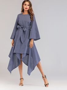 Grid Asymmetrical Hem Belted Dress