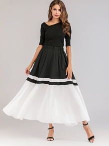 Color Block Elastic Waist Skirt