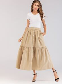 Button Front Pocket Detail Skirt