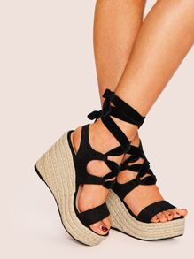 Lace-up Cut Out Wedges
