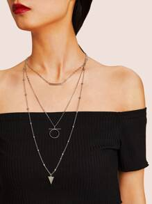 Bar & Circle Pendant Layered Chain Necklace 1pc