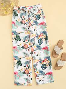 Tropical Print Self Tie Pants