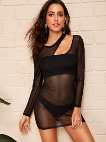 Cut Out Yoke Sheer Mesh Dress Without Bra