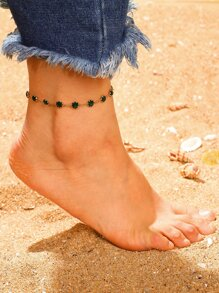 Gemstone Detail Chain Anklet 1pc