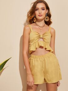 Ruffle Trim Knotted Peekaboo Top & Shorts Set