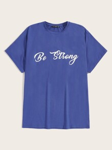 Men Slogan Print T-shirt