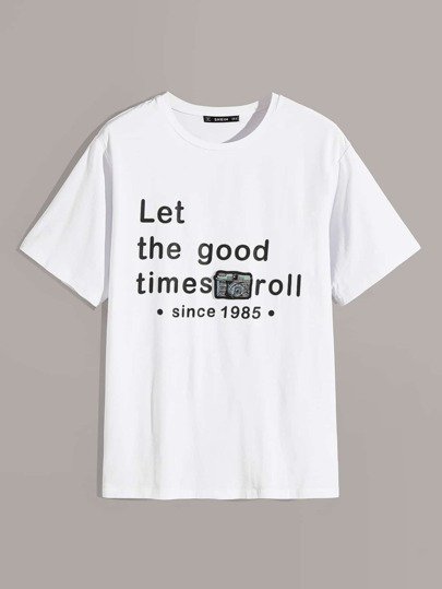 Guys Slogan & Camera Patched Print Tee