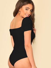 f9acbb8fefc2 Puff Sleeve Wrap Sweetheart Bodysuit | SHEIN UK