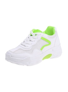 Neon Lime Detail Lace-up Front Mesh Sneakers