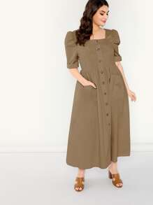 Plus Puff Sleeve Pocket Patch Shirt Dress