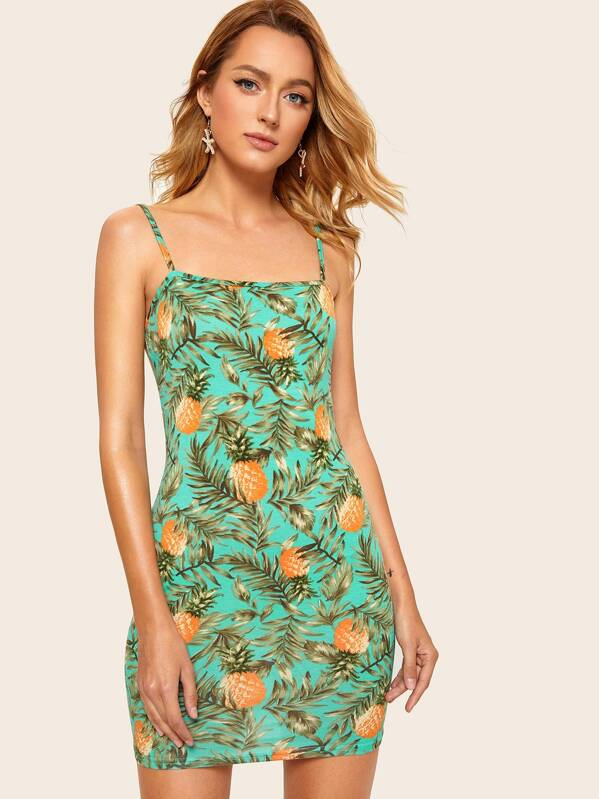 ec29daf232 Tropical and Pineapple Print Cami Dress | SHEIN UK