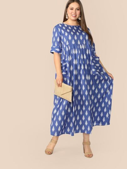 481051b0 Plus Patch Pocket Heather Knit Smock Dress