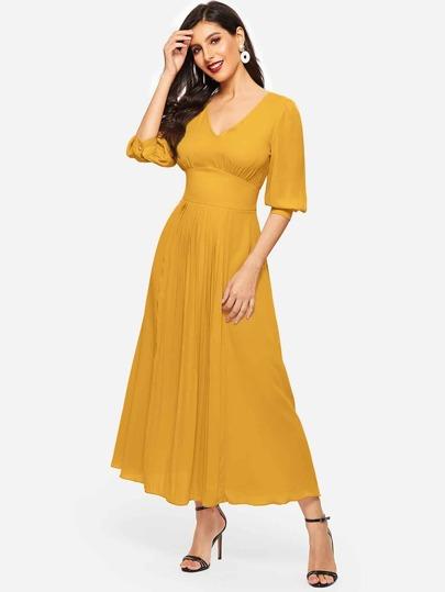 65edac83a2d5 Puff Sleeve Wide Waist Pleated Front Dress