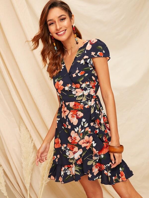 c8e48248a8 Cheap Floral Print Ruffle Hem Self Tie Wrap Dress for sale Australia ...